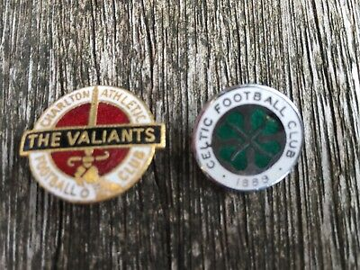 2 x Original Metal Football Badges from the 1980's Celtic & Charlton Athletic