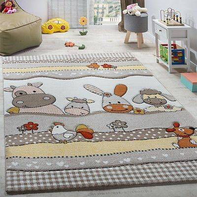 KIDS RUG GREY Nursery Rug Animals Farm Thick Children Carpet ...