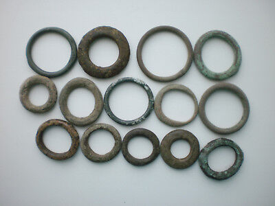 Rare Ancient Group of Celtic Bronze Proto-Money Rings Set 14
