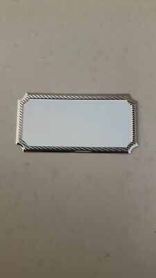 Engraved trophy award plaque plate. 40 x 25mm  silver plated