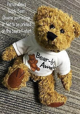 personalised printed teddy bear /& white t-shirt for your own Valentine loved one