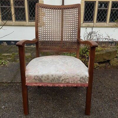 A Pretty Oak Frame Antique Low Bergere Armchair with Padded Seat Circa 1910