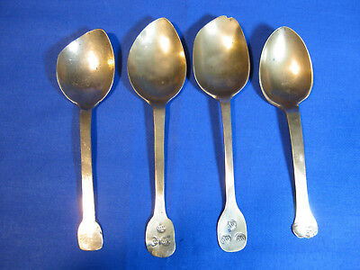 Four Rare Collectible 17th Century Latten Brass Spoons With Three Crowns Mark