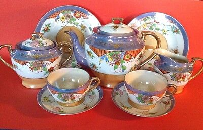 Takito Tea Set - 9 Pieces - Hand Painted Lustre WIth Raised Gold Moriage - Japan
