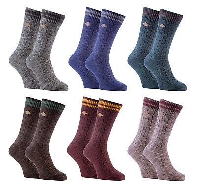 Farah - 2 Pairs Mens Thick Cotton Rich Knitted Business Dress Socks for Boots
