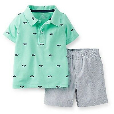 Carters Baby Boys' Whale Polo Short Set, Turquoise (9 Months)