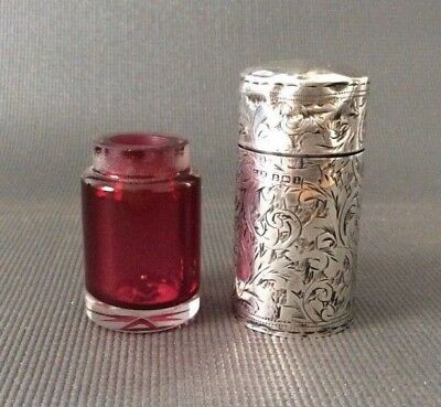 Antique Sterling Silver Victorian Scent Perfume Bottle / Hallmarked / Ruby Glass
