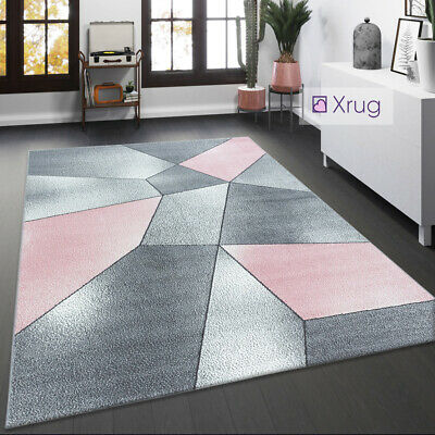 Geometric Rug Pink Blue Yellow Pastel Multi Colour Living Room Rug Small Large