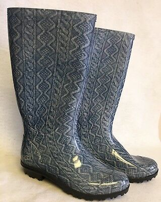 28099f6bd0a Ugg Australia Women s Boots Shaye Rain Rubber Boots Navy Blue Cable Knit  size 6