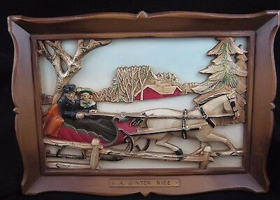 "Vintage Syroco  ""A WINTER RIDE"" Carved Cut-Out 3-D Framed Picture"