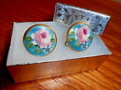 Vintage Hand Painted Peony and Narcissus on Porcelain Gold Tone Clip On Earrings