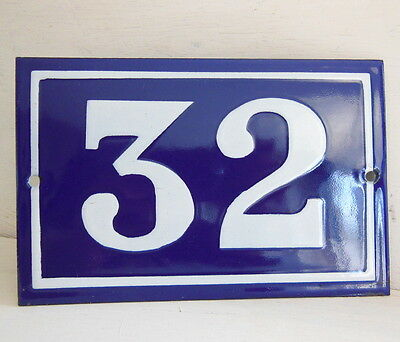 OLD FRENCH HOUSE NUMBER SIGN door gate PLATE PLAQUE Enamel steel metal 32 Blue