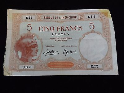 NEW CALEDONIA Banque De L'Indo-Chine 5 Cinq Francs Note E77 882 World War II