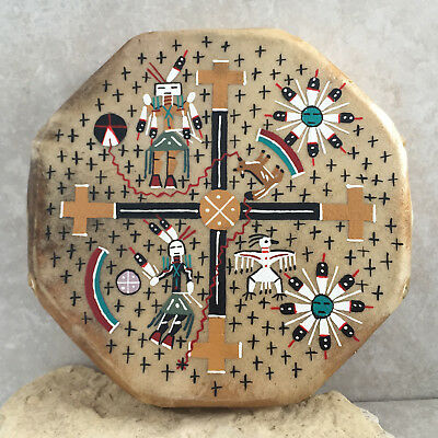 Native American Drum - Navajo Hand Painted Cochiti Drum - Four Direction Design