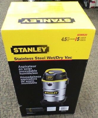New Stanley Stainless Steel 5 Gallon 4.5 Peak HP Wet/Dry Shop Vacuum Blower Vac
