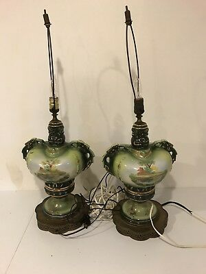 Vintage Large Pair Of Victorian Painted Porcelain Lamps
