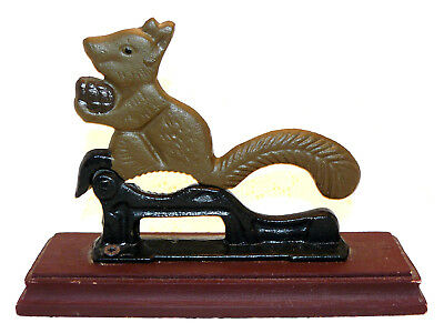 Vintage Nutcracker brown Squirrel holding a Nut Cast Hand Painted Iron Cast