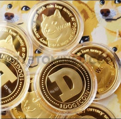 1X Dogecoin(DOGE) CryptoCoin Gold Plated- Doge is UP UP UP! New Year!Wholesale