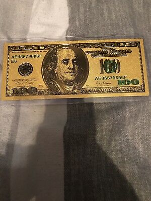 50PCS One Hundred Gold Dollar Bill $100 Gold Banknote Colorful USD 100 YO