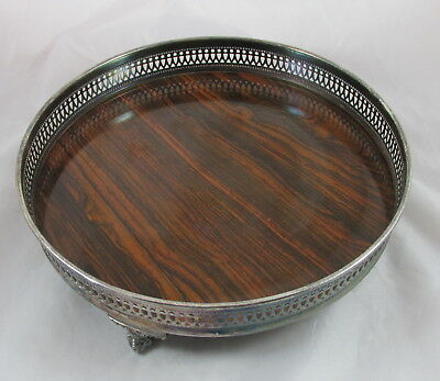 Vintage Sheffield Silver Plate&Wood Grain Formica Ball Claw Feet Serving Tray