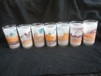 Set of 7 VTG California Missions Frosted Glass Tumblers, Mint Cond, No Fading