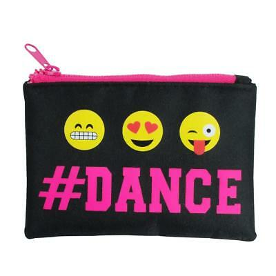 NEW Pink Poppy Pixel Emoji # Dance Zipped Coin Purse Black