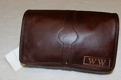 """Pottery Barn Travel Saddle Leather Hanging Toiletry Case Bag NWT Free Ship """"WW"""""""