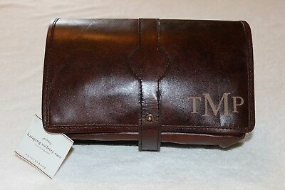 706e11f8e0 PotteryBarn Travel Saddle Leather Hanging Toiletry Case Bag NWT Free Ship