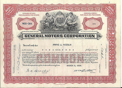 Stock certificate General Motors Corp 1950's Less Than 100 shares. Delaware