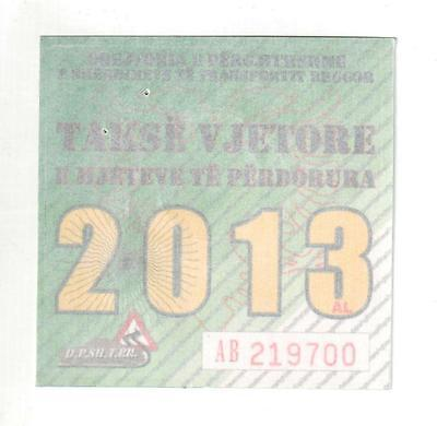 Road Tax License Holder Sticker Car, Van, Truck, Vehicle from Albania. 2013
