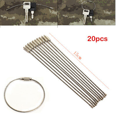 20PCS Stainless Steel Wire Keychain Cable Key Ring for Outdoor Hiking Camping