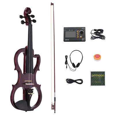 Full Size 4/4 Solid Wood Silent Electric Violin Fiddle Maple Full Accessories