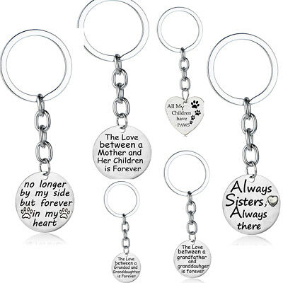Love Mum Dad Sister Mom Father Keyring Keychain Silver Pendant Women Men Charm