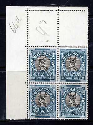 SOUTH AFRICA 1936 ½d. Grey & Green ROTO CORNER BLOCK Wmk Upright SG 54aw MNH