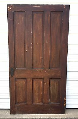 """EXTREMELY RARE HUGE Antique SOLID WOOD DOOR 44"""" WIDE 6 Panels 81"""" Tall Salvage"""