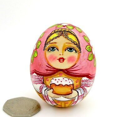 Wooden Russian Egg Doll Pink BABUSHKA Girl & EASTER Bread Gift signed