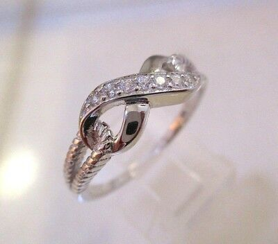 Solid  Sterling Silver Eternal Knot Clear CZ Ring.Size P. Dainty