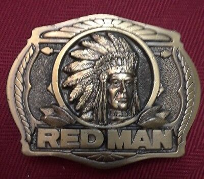 Vintage 1988 RedMan Tobacco Belt Buckle Limited Edition Brass Very Nice