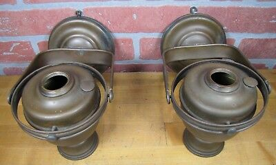 Antique Nautical Pair Brass Gimbal Oil Lamps Pivoting Swivel Ship Boat Lights
