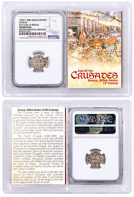 1250-1310 Greece, Billon Denier Coin of Crusades NGC AU Story Vault SKU51867