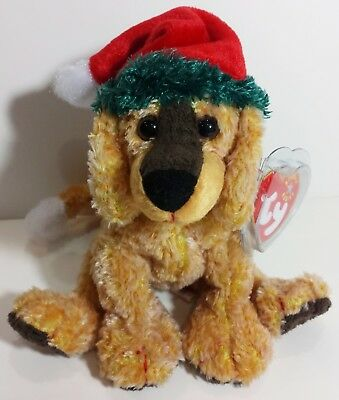 """TY Beanie Babies """"JINGLEPUP"""" Christmas Puppy DOG - MWMTs RETIRED! GREAT GIFT!"""