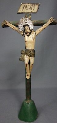 Antique Vintage Handcarved Wood Figure Jesus Christ Crucifix from Guatemala