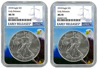 2018 1oz Silver American Eagle NGC MS70 - Early Releases - Eagle Core - 2 Pack