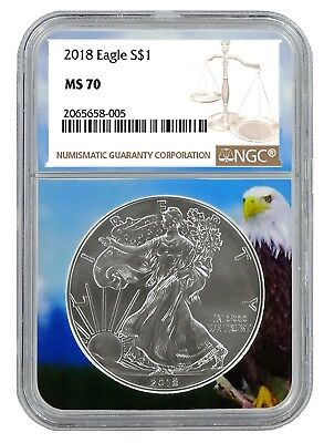 2018 1oz Silver American Eagle NGC MS70 - Brown Label - Eagle Core