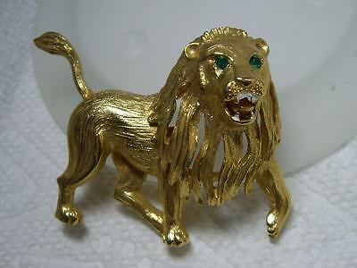 Rare Hattie Carnegie Gold Plated Roaring Lion Brooch Pin Vtg Runway Couture