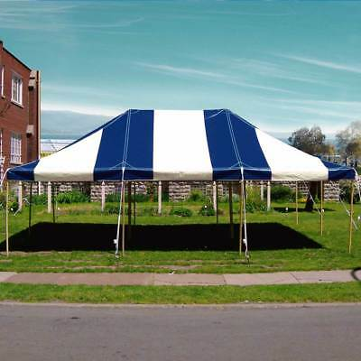 20x30 Commercial Pole Tent Heavy Duty Wedding Party Canopy Blue White Vinyl Top & 20X40u0027 COMPLETE Pole tent Commercial Heavy duty Party George ...
