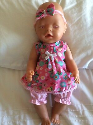"Doll Clothes to fit 17"" Baby Born doll ~ 3 Piece Set. :: Pink Flowers"