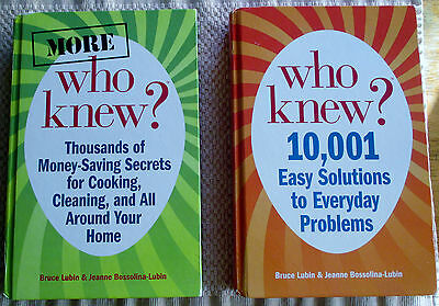 """2 Book Lot. Bruce Lubin """"who Knew"""" 10,001 Easy Solutions To Everyday Problems."""