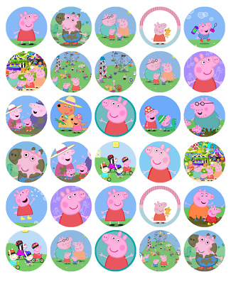 """30 PEPPA PIG 1.5"""" ROUND (35mm) EDIBLE WAFER PAPER CUPCAKE TOPPERS #1"""