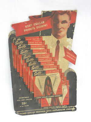 Vint 1946 Cardboard Display Spiffy Invisible Collar Stay Down 9 Metal Stay Downs